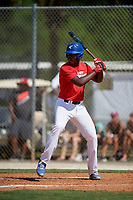 Mahki Backstrom during the WWBA World Championship at the Roger Dean Complex on October 19, 2018 in Jupiter, Florida.  Mahki Backstrom is a first baseman from Los Angeles, California who attends Junipero Serra High School and is committed to Fresno State.  (Mike Janes/Four Seam Images)