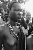 Sudan. Southern part. Bahr El Ghazal. Akoc. Dinka tribe area. Young girl with necklaces.  © 1998 Didier Ruef