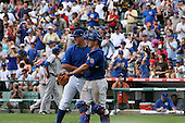 August 9, 2009:  Catcher Chris Robinson and Pitcher Blake Parker of the Iowa Cubs shake hands after a game as the fans cheer at Wrigley Field in Chicago, IL.  Iowa is the Pacific Coast League Triple-A affiliate of the Chicago Cubs.  Photo By Mike Janes/Four Seam Images