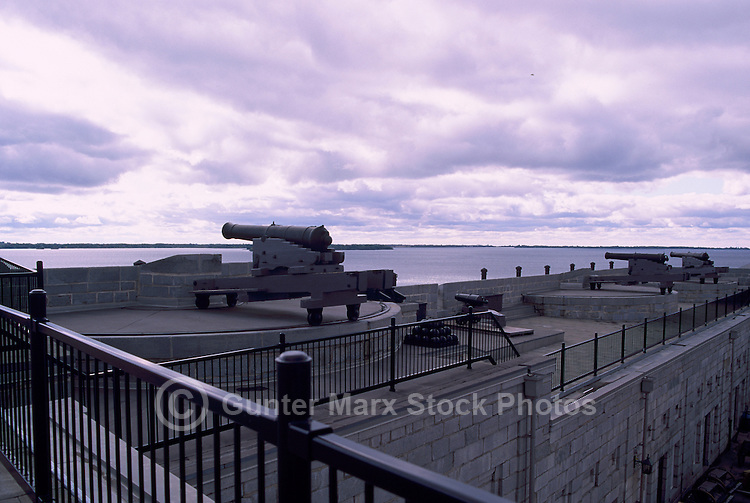 Gun (Cannon) on Rampart, Fort Henry National Historic Site (UNESCO World Heritage Site) (built 1832 to 1837), Kingston, Ontario, Canada