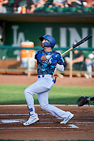 Sam McWilliams (5) of the Ogden Raptors bats against the Grand Junction Rockies at Lindquist Field on June 14, 2019 in Ogden, Utah. The Raptors defeated the Rockies 12-0. (Stephen Smith/Four Seam Images)