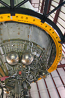 NASA rocket that is displayed at Houston Space Center, Texas, USA.  These images show the shuttle's engine, external view, and internal view of its captain cabin control room.