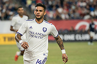 FOXBOROUGH, MA - JULY 27:  Dom Dwyer #14 running towards the sideline at Gillette Stadium on July 27, 2019 in Foxborough, Massachusetts.