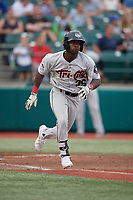 Tri-City ValleyCats E.P. Reese (36) runs to first base during a NY-Penn League game against the Brooklyn Cyclones on August 17, 2019 at MCU Park in Brooklyn, New York.  Brooklyn defeated Tri-City 2-1.  (Mike Janes/Four Seam Images)