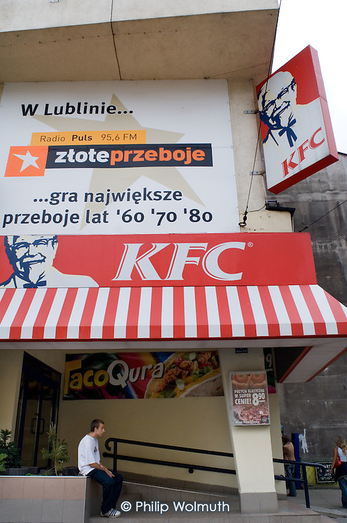 Kentucky Fried Chicken fast food restaurant in the Polish city of Lublin.