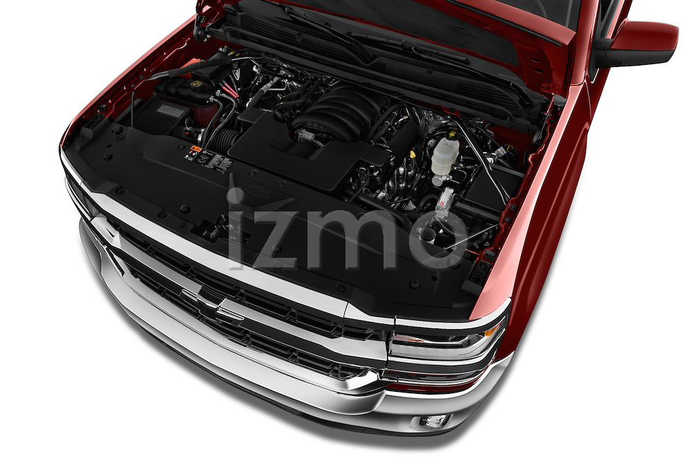 Car Stock 2018 Chevrolet Silverado-1500 LT-Double-Cab-Std-Box 4 Door Pick-up Engine  high angle detail view