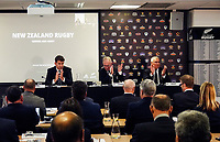 From left, NZ Rugby chief executive Mark Robinson, chairman Brent Impey and president Bill Osborne applaud the unanimous passing of the proposal to allow Project Future investment by Silver Lake. The 2021 New Zealand Rugby Annual General Meeting at the New Zealand Rugby House in Wellington, New Zealand on Thursday, 29 April 2021. Photo: Dave Lintott / lintottphoto.co.nz