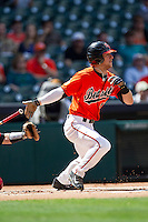 Sam Houston State Bearkats outfielder Colt Atwood #11 runs to first base during the NCAA baseball game against the Texas Tech Red Raiders on March 1, 2014 during the Houston College Classic at Minute Maid Park in Houston, Texas. The Bearkats defeated the Red Raiders 10-6. (Andrew Woolley/Four Seam Images)