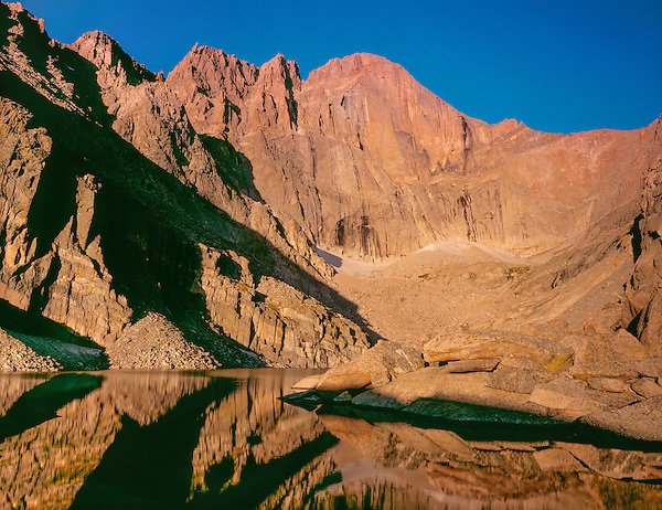 Chasm Lake and the Diamond, Longs Peak, Rocky Mountain National Park, Colorado.<br />