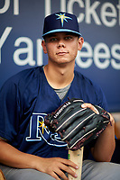Pitcher Todd Peterson (23) of Lake Mary High School in Lake Mary, Florida playing for the Tampa Bay Rays scout team during the East Coast Pro Showcase on July 27, 2015 at George M. Steinbrenner Field in Tampa, Florida.  (Mike Janes/Four Seam Images)