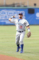 Franklin Barreto (10) of the Stockton Ports throws before a game against the Inland Empire 66ers at San Manuel Stadium on June 28, 2015 in San Bernardino, California. Stockton defeated Inland Empire, 4-1. (Larry Goren/Four Seam Images)