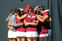 STANFORD, CA - MARCH 1, 2015--Stanford women tennis before there match again CAL Berkley at the Taube Family Tennis Stadium.