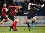 Ross County v St Johnstone....07.04.15   SPFL<br /> James McFadden turns Paul Quinn<br /> Picture by Graeme Hart.<br /> Copyright Perthshire Picture Agency<br /> Tel: 01738 623350  Mobile: 07990 594431