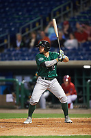 Daytona Tortugas left fielder Brian O'Grady (12) bats during a game against the Clearwater Threshers on April 19, 2016 at Bright House Field in Clearwater, Florida.  Clearwater defeated Daytona 4-1.  (Mike Janes/Four Seam Images)