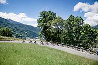 yellow jersey / GC leader Richie Porte (AUS/Ineos Grenadiers) escorted by his teammates at the front of the peloton up the Côte d'Héry-sur-Ugine (2Cat/962m/10km@5%)<br /> <br /> 73rd Critérium du Dauphiné 2021 (2.UWT)<br /> Stage 8 (Final) from La Léchère-Les-Bains to Les Gets (147km)<br /> <br /> ©kramon