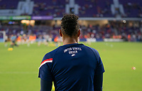 ORLANDO, FL - MARCH 05: Adrianna Franch #21 of the United States warms up during a game between England and USWNT at Exploria Stadium on March 05, 2020 in Orlando, Florida.