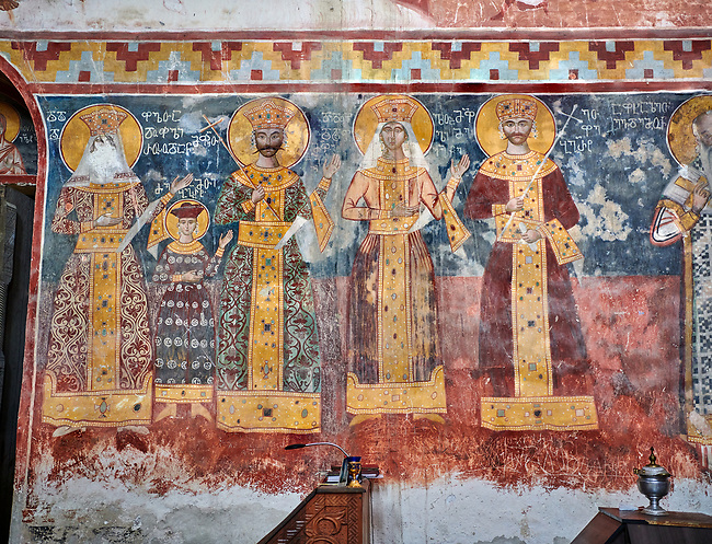 Pictures & images of the Byzantine fresco panels on the north wall of the Gelati Georgian Orthodox Church of the Virgin, 1106, depicting scenes from left to right: Queen Rusudan, Prince Bagrat, King George II, Queen Helen, King Bagrat III of Imereti.  The medieval Gelati monastic complex near Kutaisi in the Imereti region of western Georgia (country). A UNESCO World Heritage Site.
