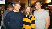 Photo: Richard Lane/Richard Lane Photography. Toulouse v Wasps.  European Rugby Champions Cup. 15/12/2018. Wasps supporters with Jack Willis and Marcus Garrett.