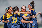 1 September 2019: Merrimack College Warrior Forward Izzy McDonnell, a Junior from Fall River, MA, celebrates scoring the game-tying goal in the second half of play against the University of Vermont Catamounts in Game 3 of the TD Bank Women's Soccer Classic at Virtue Field in Burlington, Vermont. The Lady Warriors rallied in the second half to defeat the Catamounts 2-1. Mandatory Credit: Ed Wolfstein Photo *** RAW (NEF) Image File Available ***