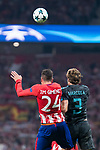 Atletico de Madrid's Jose Maria Gimenez and Chelsea's Marcos Alonso during UEFA Champions League match between Atletico de Madrid and Chelsea at Wanda Metropolitano in Madrid, Spain September 27, 2017. (ALTERPHOTOS/Borja B.Hojas)