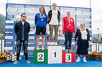 10 km donne juniores <br /> da sinistra sul podio Yuna Preti Coopernuoto, Elisa Taccioli Virtus Buonconvento, Lara Gherardini Omegna Nuoto<br /> Omegna (Verbania), Lago D'Orta<br /> FIN 2016 Campionato Italiano Assoluto Nuoto di Fondo <br /> <br /> Day 02 11-06-2016<br /> Photo Laura Binda/Deepbluemedia/Insidefoto