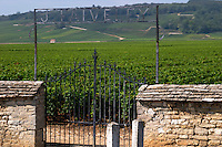 vineyard gate marked j faiveley clos de vougeot cote de nuits burgundy france