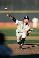 Wake Forest Demon Deacons relief pitcher Rayne Supple (30) delivers a pitch to the plate against the Richmond Spiders at David F. Couch Ballpark on March 6, 2016 in Winston-Salem, North Carolina.  The Demon Deacons defeated the Spiders 17-4.  (Brian Westerholt/Four Seam Images)