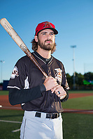 Salem-Keizer Volcanoes outfielder Nick Hill (14) poses for a photo before a Northwest League game against the Hillsboro Hops at Ron Tonkin Field on September 1, 2018 in Hillsboro, Oregon. The Salem-Keizer Volcanoes defeated the Hillsboro Hops by a score of 3-1. (Zachary Lucy/Four Seam Images)