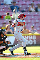 Seth Spivey #11 of the Spokane Indians bats against the Salem-Keizer Volcanoes at Volcanoes Stadium on July 26, 2014 in Keizer, Oregon. Spokane defeated Salem-Keizer, 4-1. (Larry Goren/Four Seam Images)