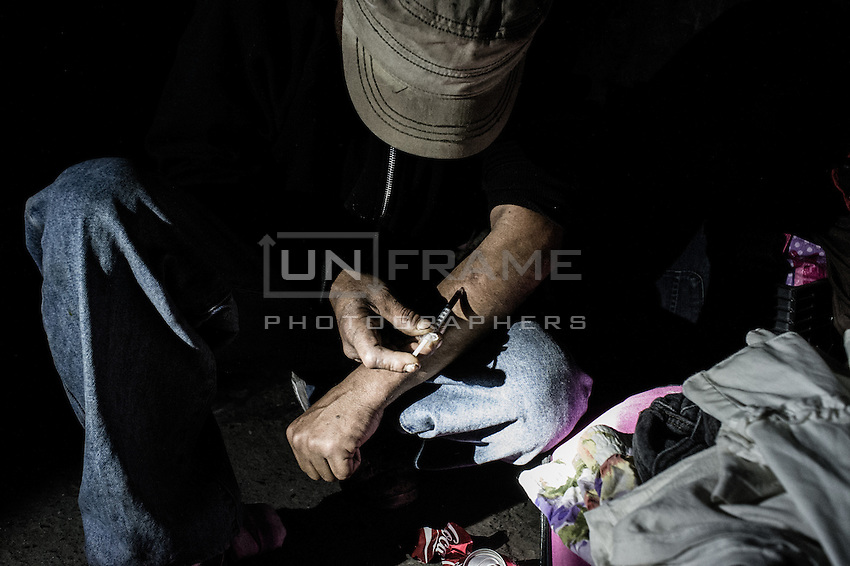 The tunnel of El Bordo at the canal is the  safest place for trading and taking drugs. Access to cheap drugs, such as crystal meth and heroine, is easy. Many succumb to drug addiction to cope with the loneliness, lack of jobs and the unacceptable conditions their lives have become.  Tijuana, Mexico. Jan 07, 2015.