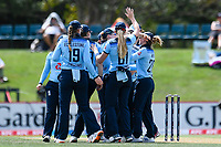 23rd February 2021, Christchurch, New Zealand;  England celebrates the wicket of Natalie Dodd of New Zealand during the 1st ODI Cricket match, New Zealand versus England, Hagley Oval, Christchurch, New Zealand