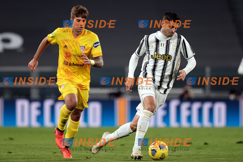 Alessandro Tripaldelli of Cagliari Calcio and Alvaro Morata of Juventus FC during the Serie A football match between Juventus FC and Cagliari Calcio at Allianz stadium in Torino (Italy), November21th, 2020. Photo Federico Tardito / Insidefoto