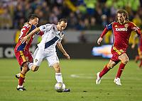 CARSON, CA - March 10,2012: LA Galaxy midfielder Landon Donovan (10) against Real Salt Lake at the Home Depot Center in Carson, California. Final score LA Galaxy 1, Real Salt Lake 3.