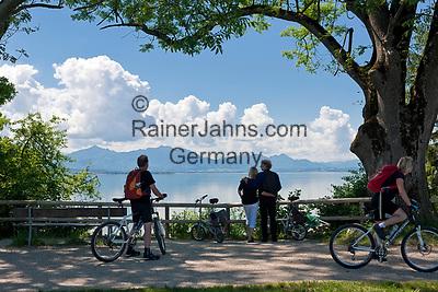 Deutschland, Bayern, Oberbayern, Chiemgau, bei Chieming: Chiemsee Uferweg (Chiemsee-Radweg), 60 Km rund um den Chiemsee, im Hintergrund die Chiemgauer Alpen | Germany, Bavaria, Upper Bavaria, Chiemgau, near Chieming: 60 Km bike trail around lake Chiemsee, at background Chiemgau Alps