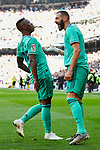Vinicius Junior (L) and Karim Benzema (R) of Real Madrid celebrate goal during La Liga match between Real Madrid and RCD Espanyol at Santiago Bernabeu Stadium in Madrid, Spain. December 07, 2019. (ALTERPHOTOS/A. Perez Meca)
