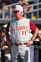 Florida State Seminoles head coach Mike Martin #11 during a scrimmage against the Philadelphia Phillies at Brighthouse Field on February 29, 2012 in Clearwater, Florida.  Philadelphia defeated Florida State 6-1.  (Mike Janes/Four Seam Images)