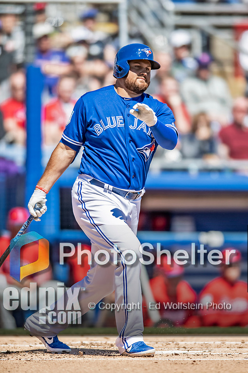 6 March 2019: Toronto Blue Jays designated hitter Rowdy Tellez at bat during a Spring Training game against the Philadelphia Phillies at Dunedin Stadium in Dunedin, Florida. The Blue Jays defeated the Phillies 9-7 in Grapefruit League play. Mandatory Credit: Ed Wolfstein Photo *** RAW (NEF) Image File Available ***