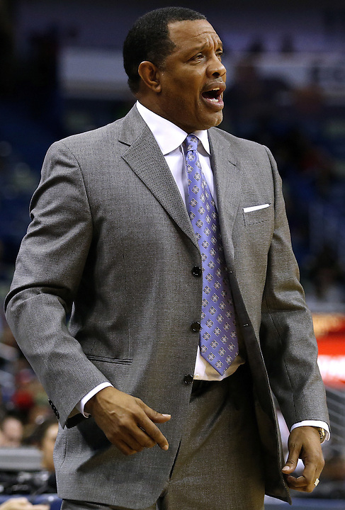 New Orleans Pelicans head coach Alvin Gentry reacts during the second half of an NBA basketball game against the Detroit Pistons Thursday, Jan. 21, 2016, in New Orleans. The Pelicans won 115-99. (AP Photo/Jonathan Bachman)