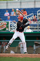 Batavia Muckdogs first baseman Sean Reynolds (25) at bat during a game against the Auburn Doubledays on September 1, 2018 at Dwyer Stadium in Batavia, New York.  Auburn defeated Batavia 10-5.  (Mike Janes/Four Seam Images)