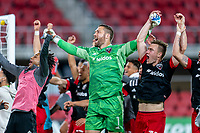 WASHINGTON, DC - APRIL 17: Chris Seitz #1 of D.C. United celebrates after a game between New York City FC and D.C. United at Audi Field on April 17, 2021 in Washington, DC.