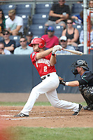 Gunnar Heidt (2) of the Vancouver Canadians bats during a game against the Eugene Emeralds at Nat Bailey Stadium on July 22, 2015 in Vancouver, British Columbia. Vancouver defeated Eugene, 4-2. (Larry Goren/Four Seam Images)