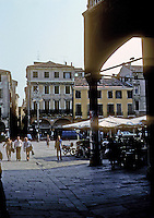 Italy: Padua--passing from Frutta to Erbe, Law Courts.  Loggia on right. Photo '83.