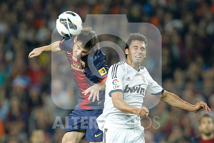 Barcelona's Lionel Messi and Real Madrid's Alvaro Arbeloa during la Liga match on october 7th 2012. ..Photo: Cesar Cebola  / ALFAQUI