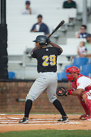 Julio De La Cruz (29) of the Bristol Pirates at bat against the Johnson City Cardinals at Howard Johnson Field at Cardinal Park on July 6, 2015 in Johnson City, Tennessee.  The Pirates defeated the Cardinals 2-0 in game one of a double-header. (Brian Westerholt/Four Seam Images)