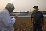 DUBAI,UNITED ARAB EMIRATES-MARCH 23: Bob Baffert (trainer,Arrogate,Dubai World Cup) and his assistant trainer, Jimmy Barns at Meydan Racecourse on March 23,2017 in Dubai,United Arab Emirates (Photo by Kaz Ishida/Eclipse Sportswire/Getty Images)