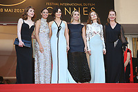 EMILIE DEQUENNE, BERENICE BEJO, JULIETTE BINOCHE, ELODIE BOUCHEZ, ISABELLE HUPPERT AND EMMANUELLE BERCOT - RED CARPET OF THE 70TH ANNIVERSARY CEREMONY AT THE 70TH FESTIVAL OF CANNES 2017