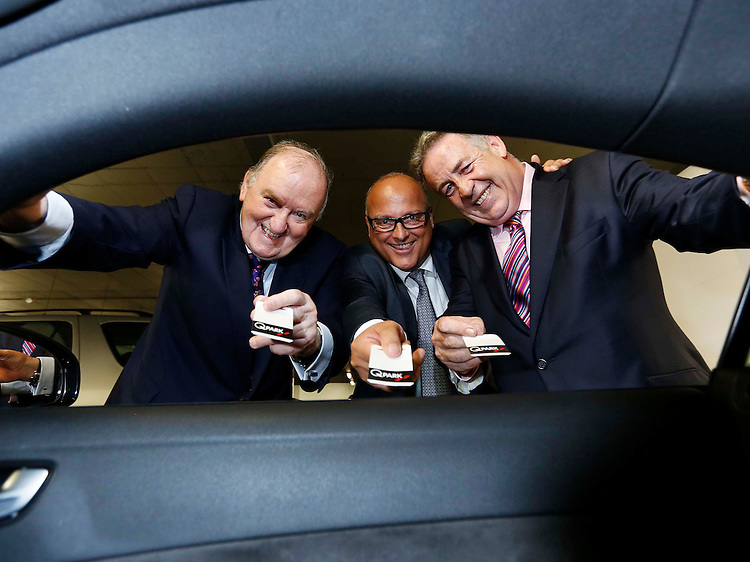 No Repro Fee..George Hook (left) with Ward Vleugels,CEO and Founder of Q-Park  and Ray Peers, Managing Director ofQ-Park Ireland (right), pictured at the 10 years in Ireland celebrations of Q-Park with the re-launch of their flagship facility at Q-Park Setanta Place on Molesworth Street, Dublin 2. .Pic: Robbie Reynolds/CPR.