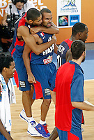 "France`s Tony Parker and Nicolas Batum celebrate European basketball championship ""Eurobasket 2013"" semifinal basketball game between Spain and France in Stozice Arena in Ljubljana, Slovenia, on September 20. 2013. (credit: Pedja Milosavljevic  / thepedja@gmail.com / +381641260959)"