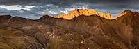 Dramatic sunset over Angelus Range, Nelson Lake National Park, South Island, New Zealand, NZ