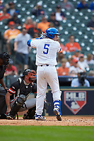 T.J. Collett (5) of the Kentucky Wildcats at bat against the Sam Houston State Bearkats during game four of the 2018 Shriners Hospitals for Children College Classic at Minute Maid Park on March 3, 2018 in Houston, Texas. The Wildcats defeated the Bearkats 7-2.  (Brian Westerholt/Four Seam Images)